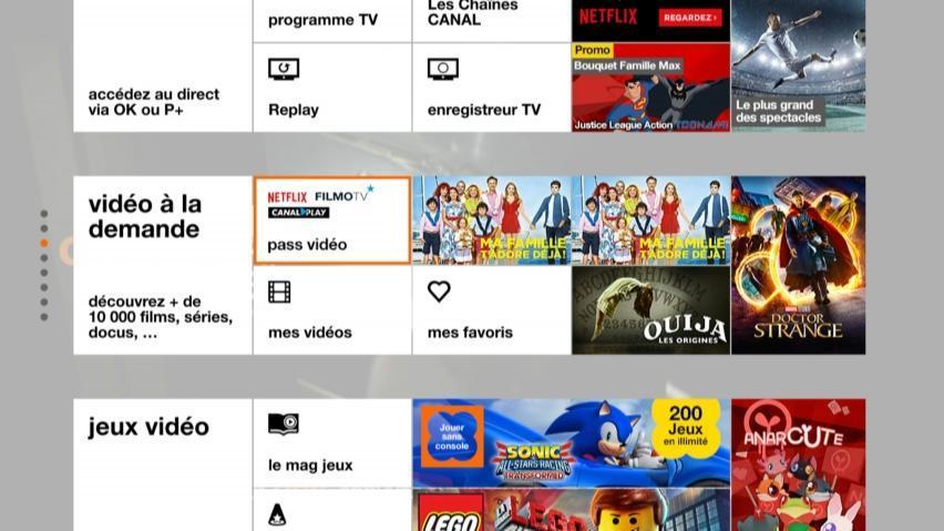 tv orange decodeur tv 4 menu blanc rubrique pass video full view image - S'abonner à Netflix avec Orange, tout savoir sur les offres